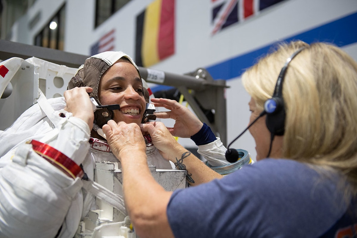 Astronaut Jessica Watkins tries on her spacesuit