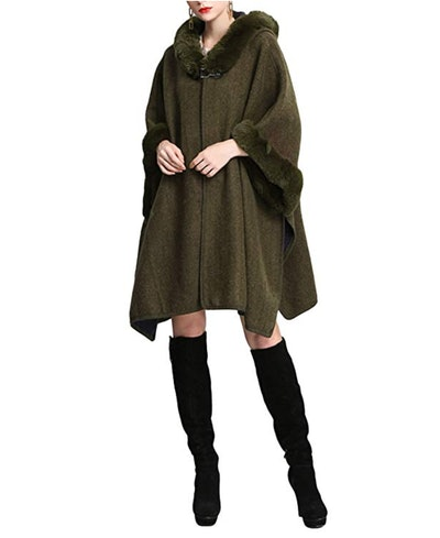 Gihuo Faux Fur Hooded Cloak
