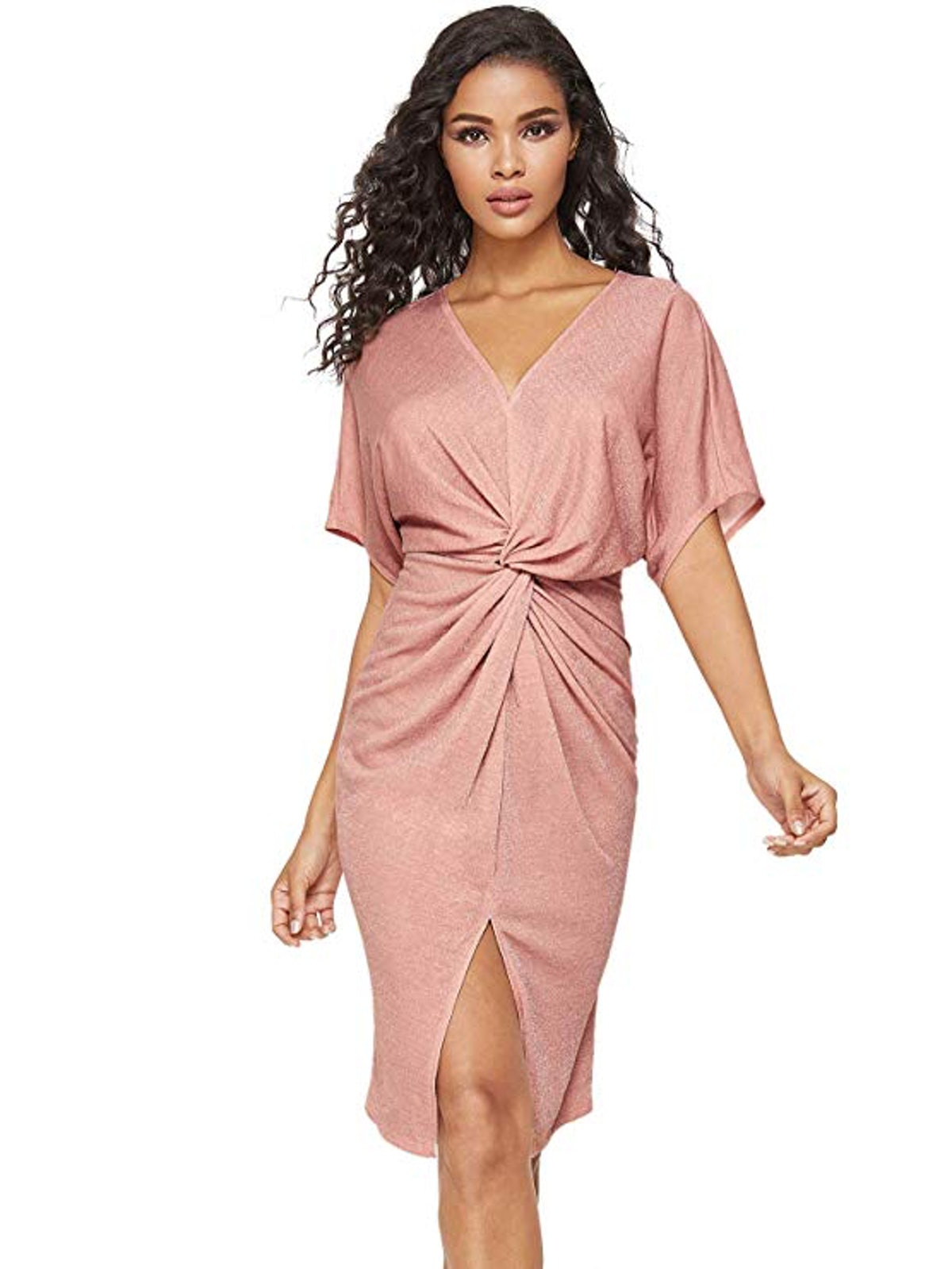 Floerns Women's Short Sleeve V Neck Twist Front Split Midi Dress