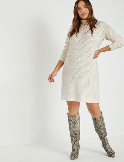 Honeycomb Turtleneck Sweater Dress