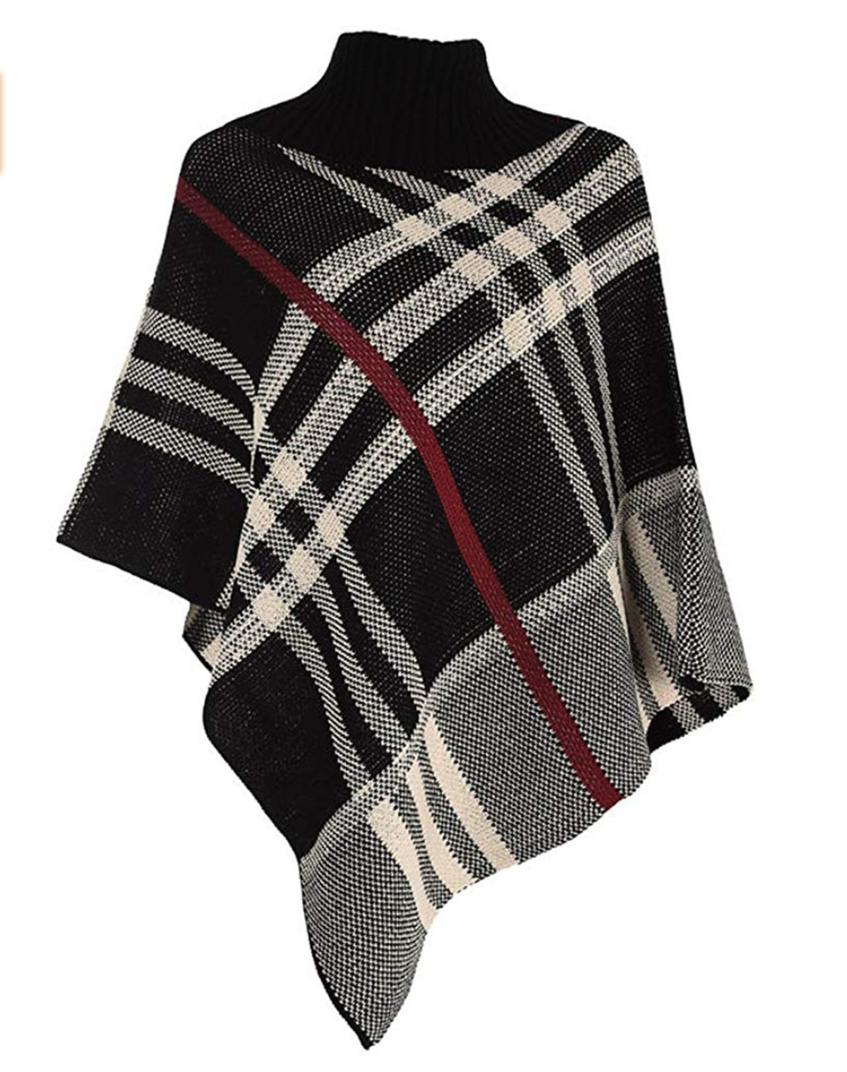 Forever Checked Knitted Poncho