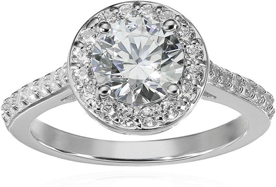 Amazon Collection Platinum Plated Halo Ring With Swarovski Zirconia