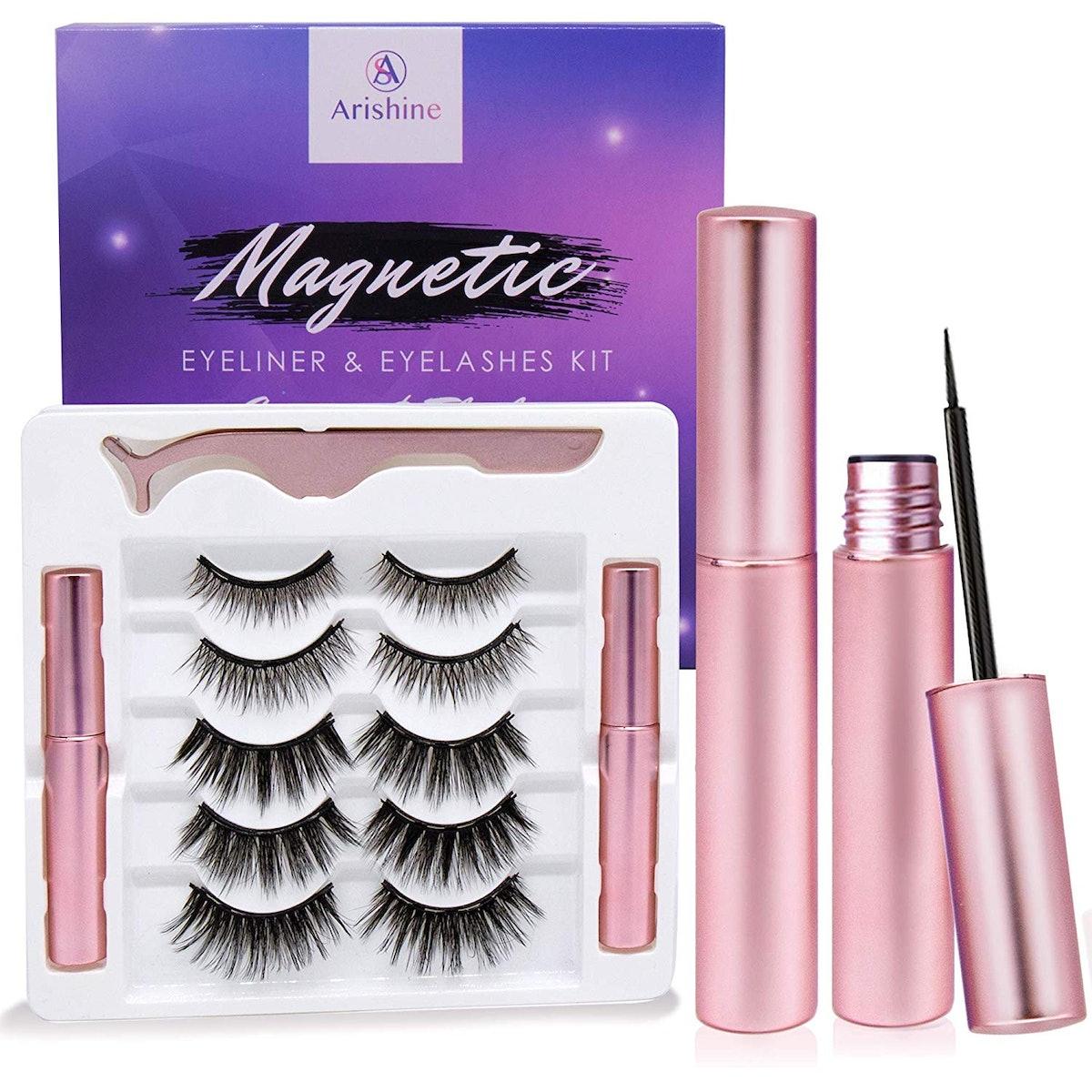 Arishine Magnetic Eyeliner and Lashes Kit (5 Pairs)