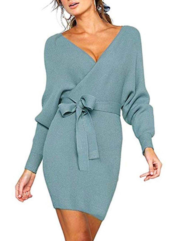 JOYCHEER V Neck Sweater Dress