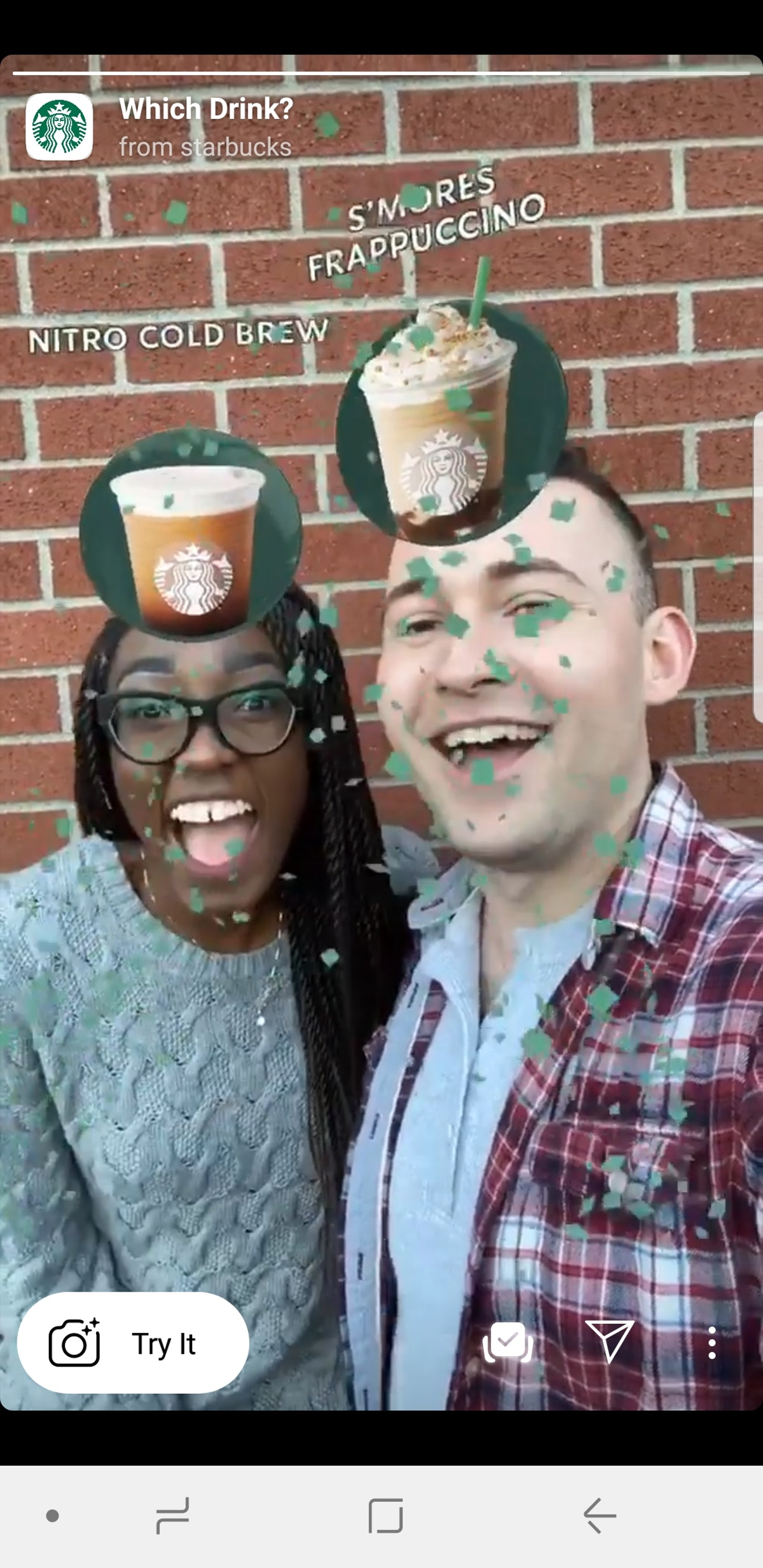 Find out your Starbucks drink with the Starbucks Instagram Story Filter.
