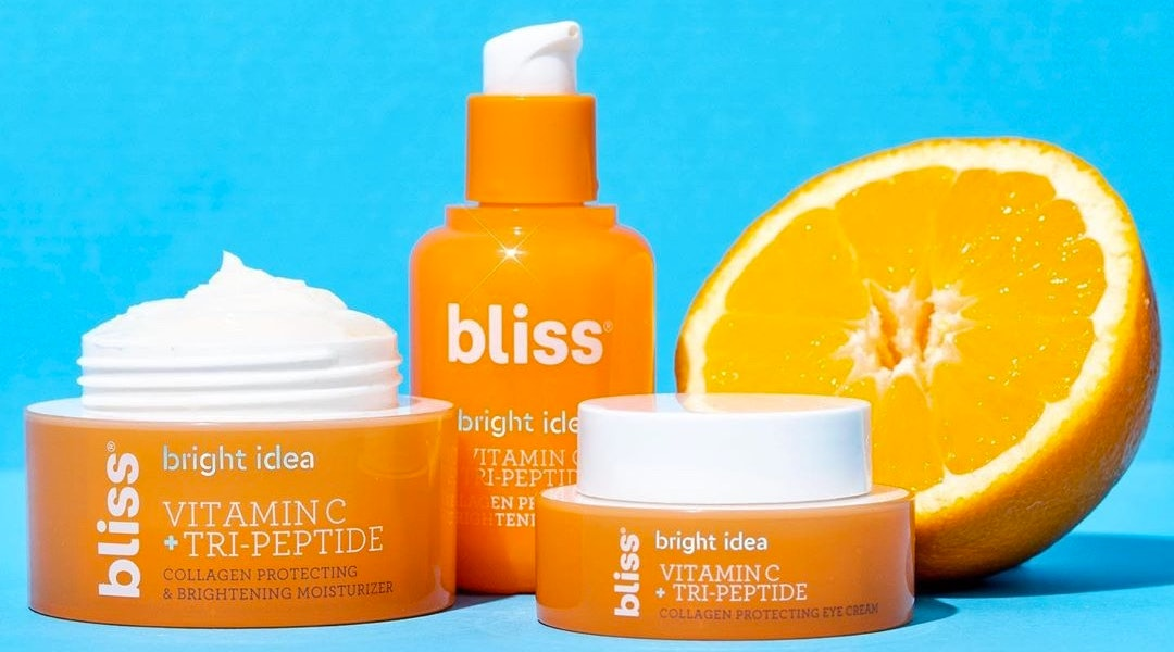 Bliss' Bright Idea Vitamin C + Tri-Peptide collection features clinical grade vitamin C and plumping peptides for bright, dewy skin.