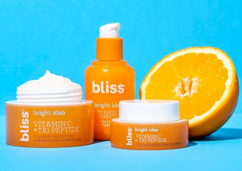 Bliss' Bright Idea Vitamin C + Tri-Peptide collection features clinical grade vitamin C and plumping...
