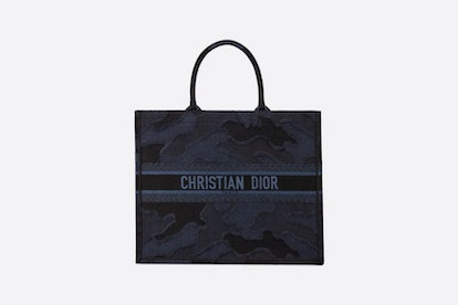 Blue Dior Book Tote Camouflage Embroidered Canvas Bag