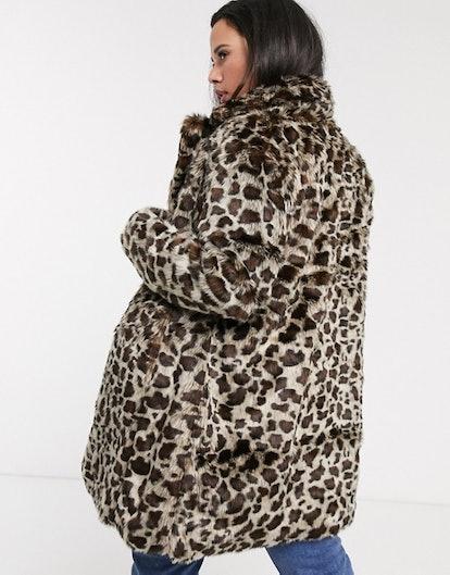 faux fur coat in leopard print