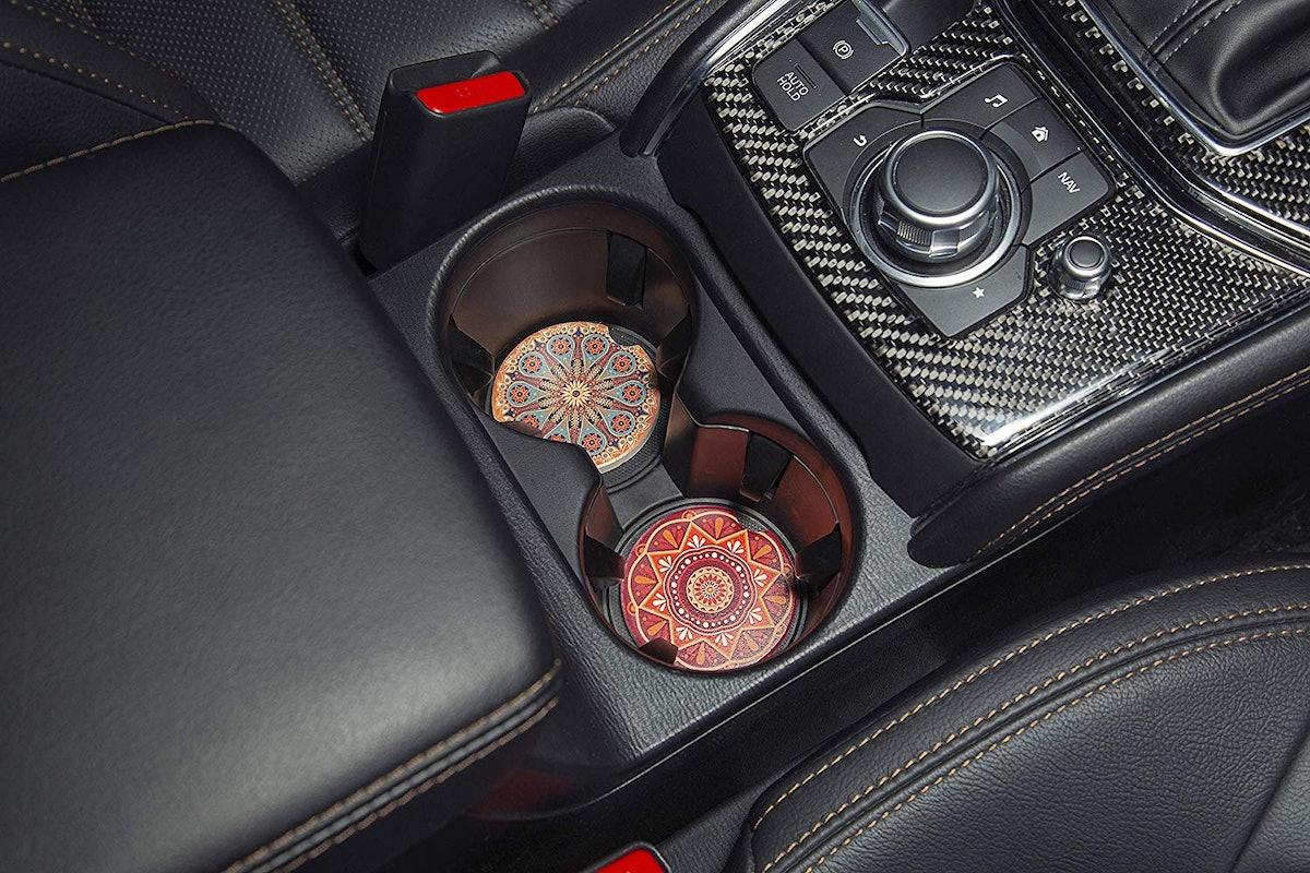 Enkore Car Cup Holder Coasters (4 Pack)