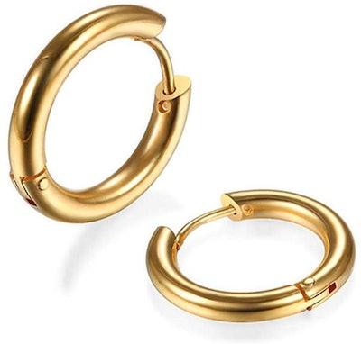 Gabry&jwl 316L Surgical Stainless Steel Huggie Hoop Earring (6 Millimeters)