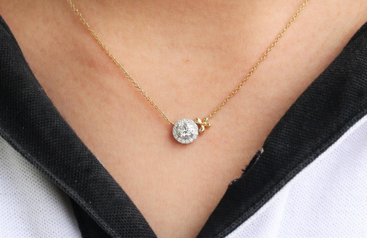 Moissanite Necklace With Diamond Halo