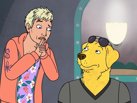 Joey Pogo (voiced by Hilary Swank) and Mr. Peanutbutter (voiced by Paul F. Tompkins) in BoJack Horseman