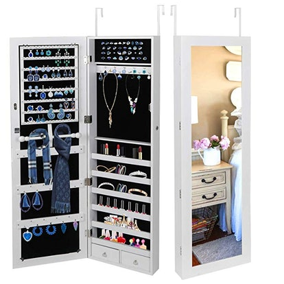 SUPER DEAL Armoire Lockable Jewelry Cabinet
