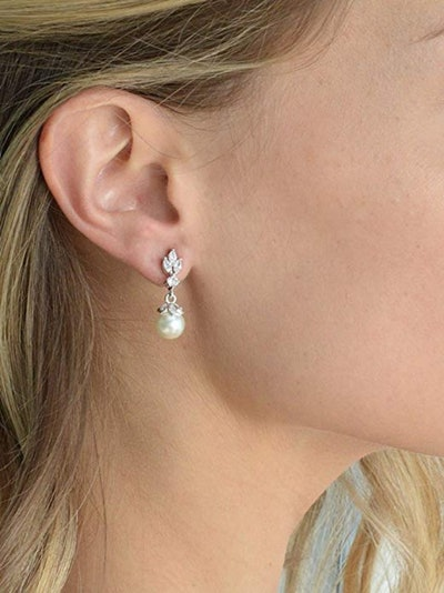 Mariell Pearl Drop Earrings With Cubic Zirconia