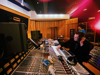 A shot Musk released on Twitter of himself in a recording studio.