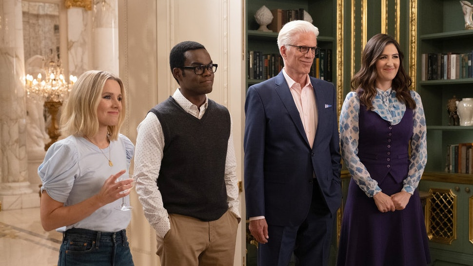Kristen Bell as Eleanor, William Jackson Harper as Chidi, Ted Danson as Michael, D'Arcy Carden as Janet in 'The Good Place' Season 4