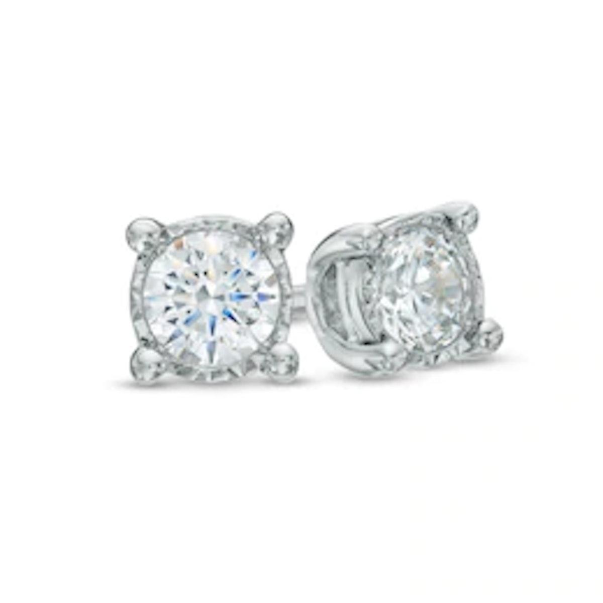 Zales Diamond Solitaire Stud Earrings in Sterling Silver