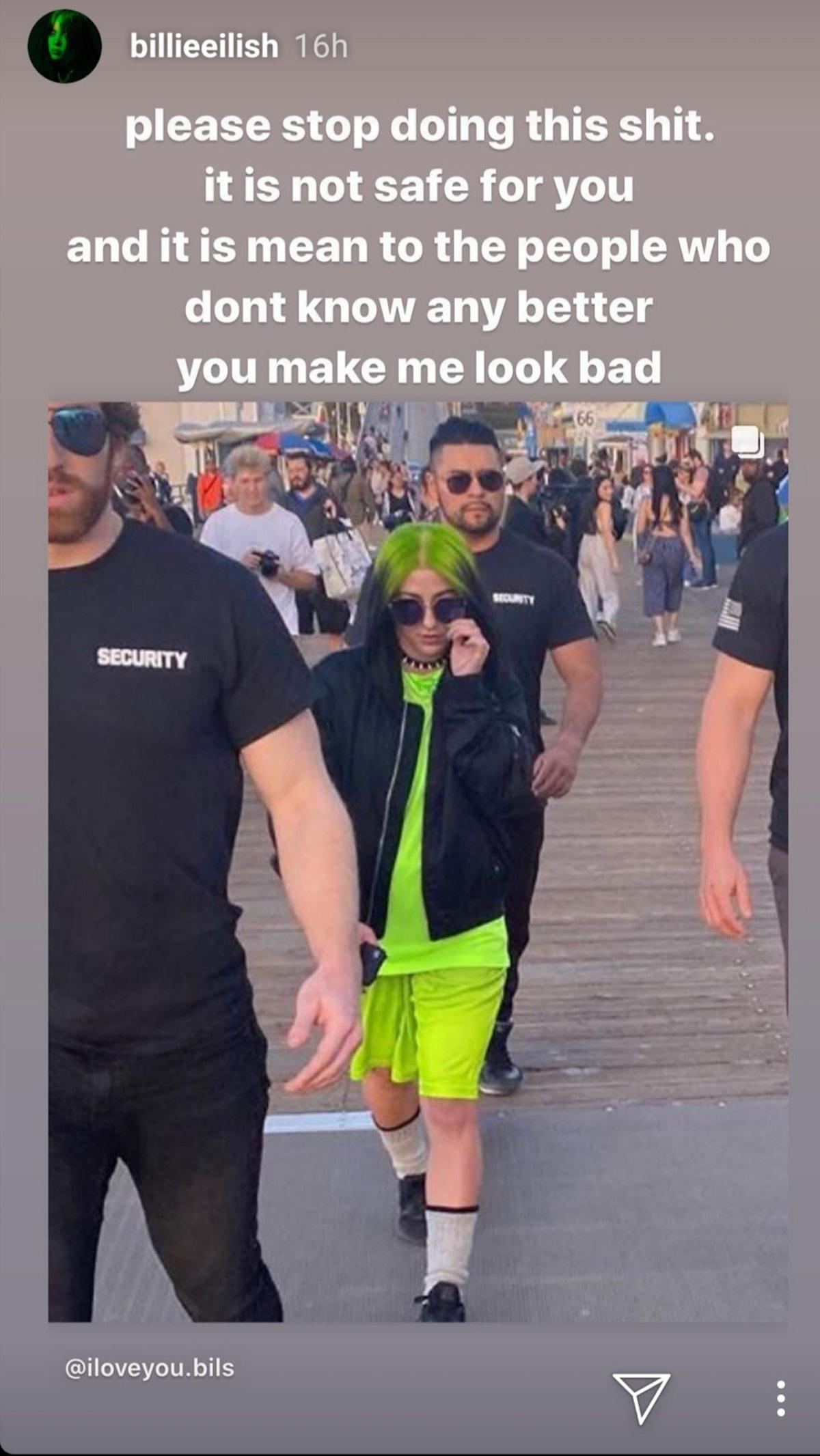 A screenshot of Billie Eilish's Instagram calling out impersonators.