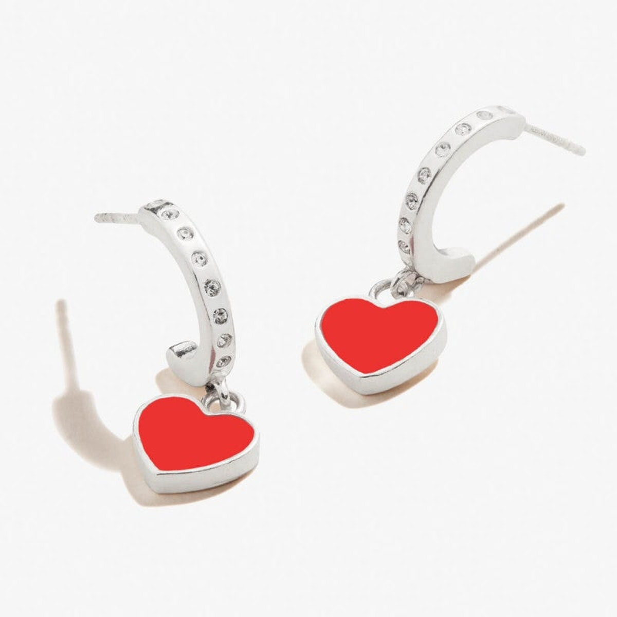 Alex and Ani Color Infusion Heart Huggie Hoop Earrings
