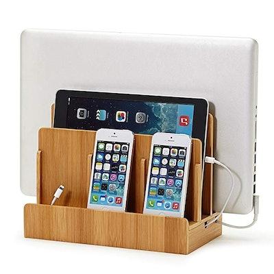 Great Useful Stuff Eco Bamboo Multi-Device Charging Station & Organizer