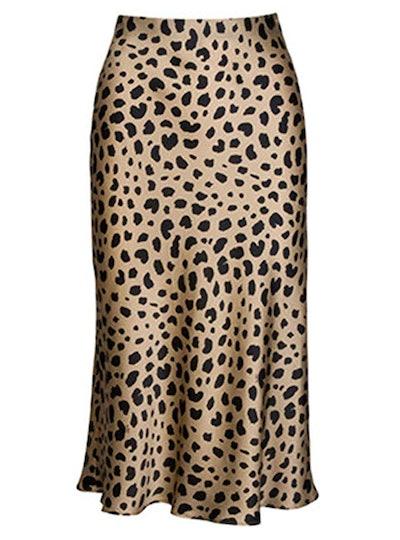 Soowalaoo High Waist Leopard Skirt