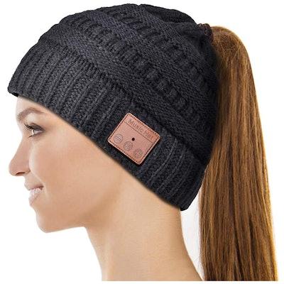 HIGHEVER Bluetooth Ponytail Beanie Hat