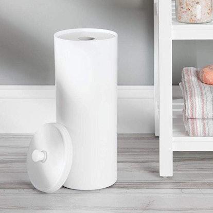 mDesign Plastic Free Standing Toilet Paper Holder