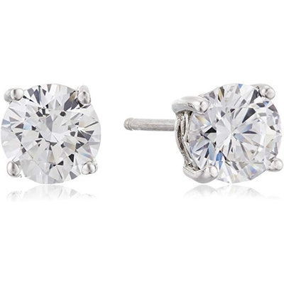 Amazon Collection Swarovski Round-Cut Stud Earrings