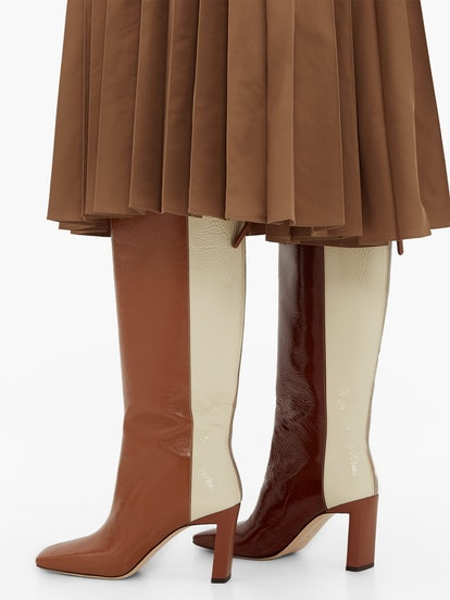 Isa Tri-Color Square-Toe Leather Boots