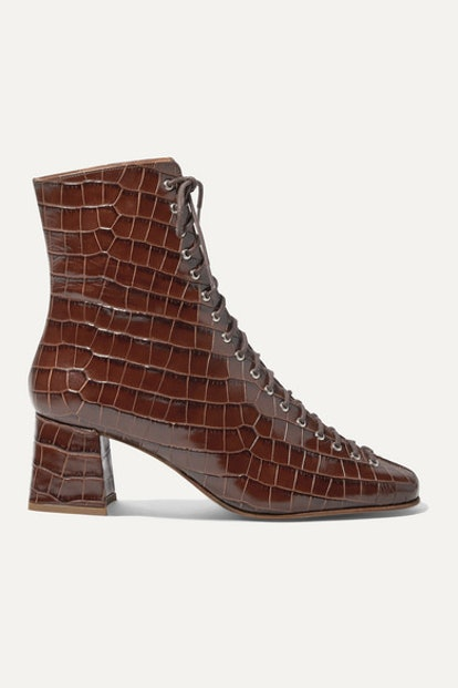 Becca Glossed Croc-Effect Ankle Boot