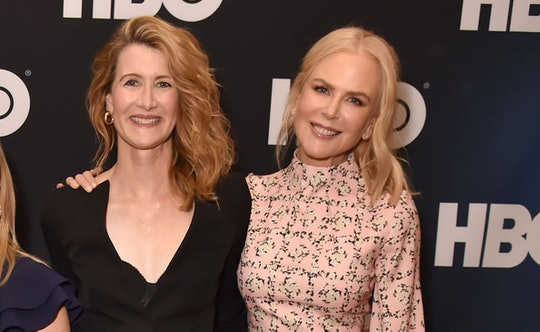 "Laura Dern and Nicole Kidman are seen prior to the ""Big Little Lies"" panel of the HBO portion of the 2019 Winter TCA on February 8, 2019 in Pasadena, California."