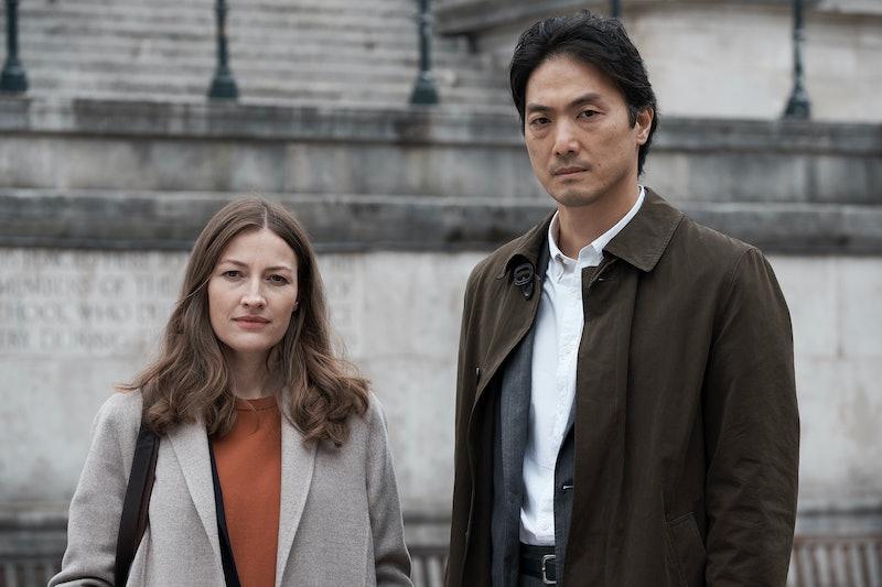 Giri/Haji's Tokyo detective Kenzo Moru (Takehiro Hira) with DC cop Sarah Weitzmann (Kelly Macdonald).
