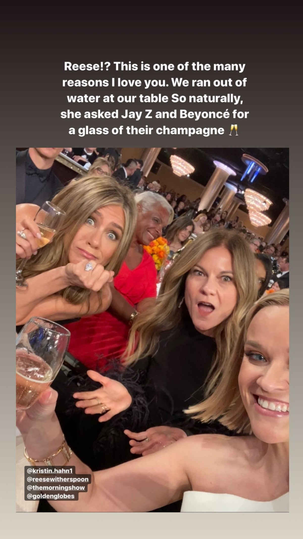 Jennifer Aniston Fangirled Over Beyoncé & Jay-Z After They Gave Her Champagne