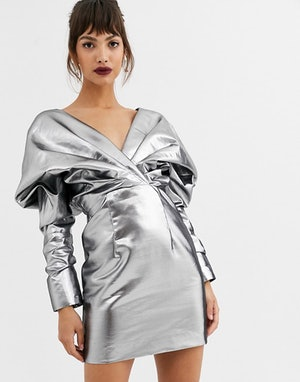 Copy Lucy Boynton's 2020 Golden Globes look for less with this metallic ASOS dress