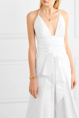 Copy Sienna Miller's Golden Globes Gucci gown with this white halterneck top