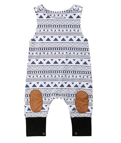 Baby Print Sleeveless Romper Jumpsuit in A~White