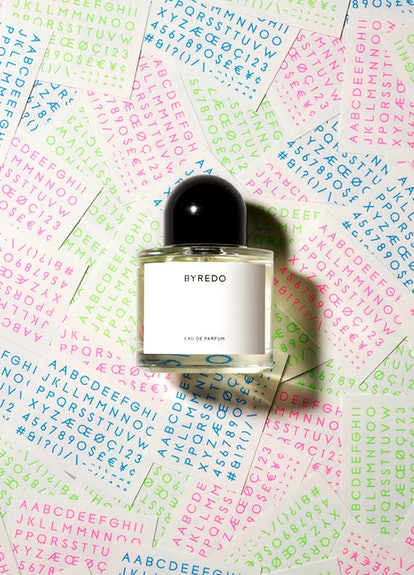 BYREDO's Unnamed fragrance with new pink, green, and blue letters