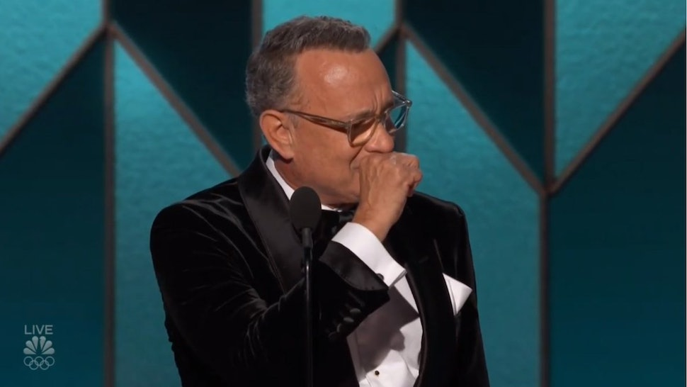 Tom Hanks giving his 2020 Golden Globes acceptance speech for the Cecile B. DeMille award.
