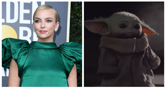 Jodie Comer at the Globes in a green dress; the child from the Mandalorian, aka Baby Yoda