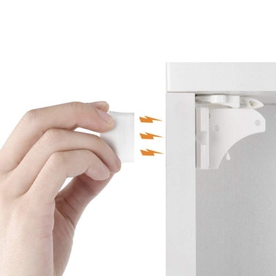 VMAISI 12 Pack Children Proof Cupboard Baby Latches - Adhesive Magnet Drawers Locks No Drilling (White)