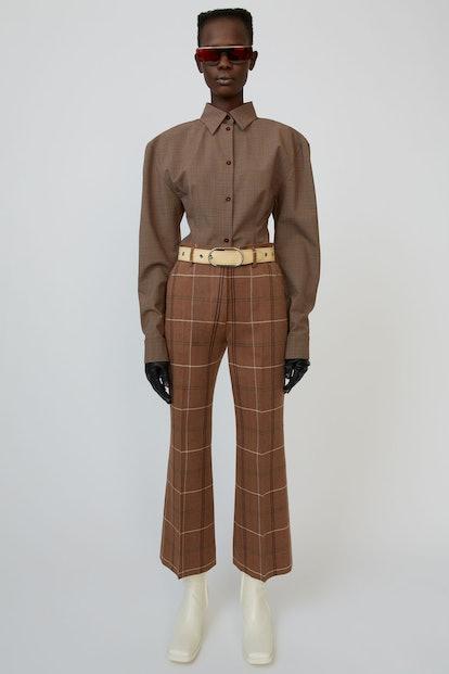 Herringbone-Check Trousers