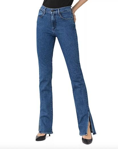 High-Rise Split-Seam Bell Flared Jeans in Hester