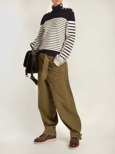Folded Low-Rise Trousers