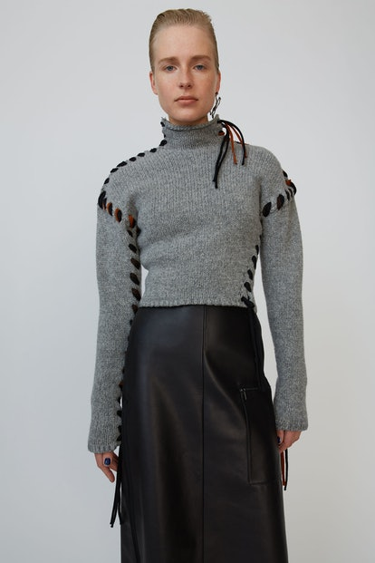 Mock-Neck Wool Sweater