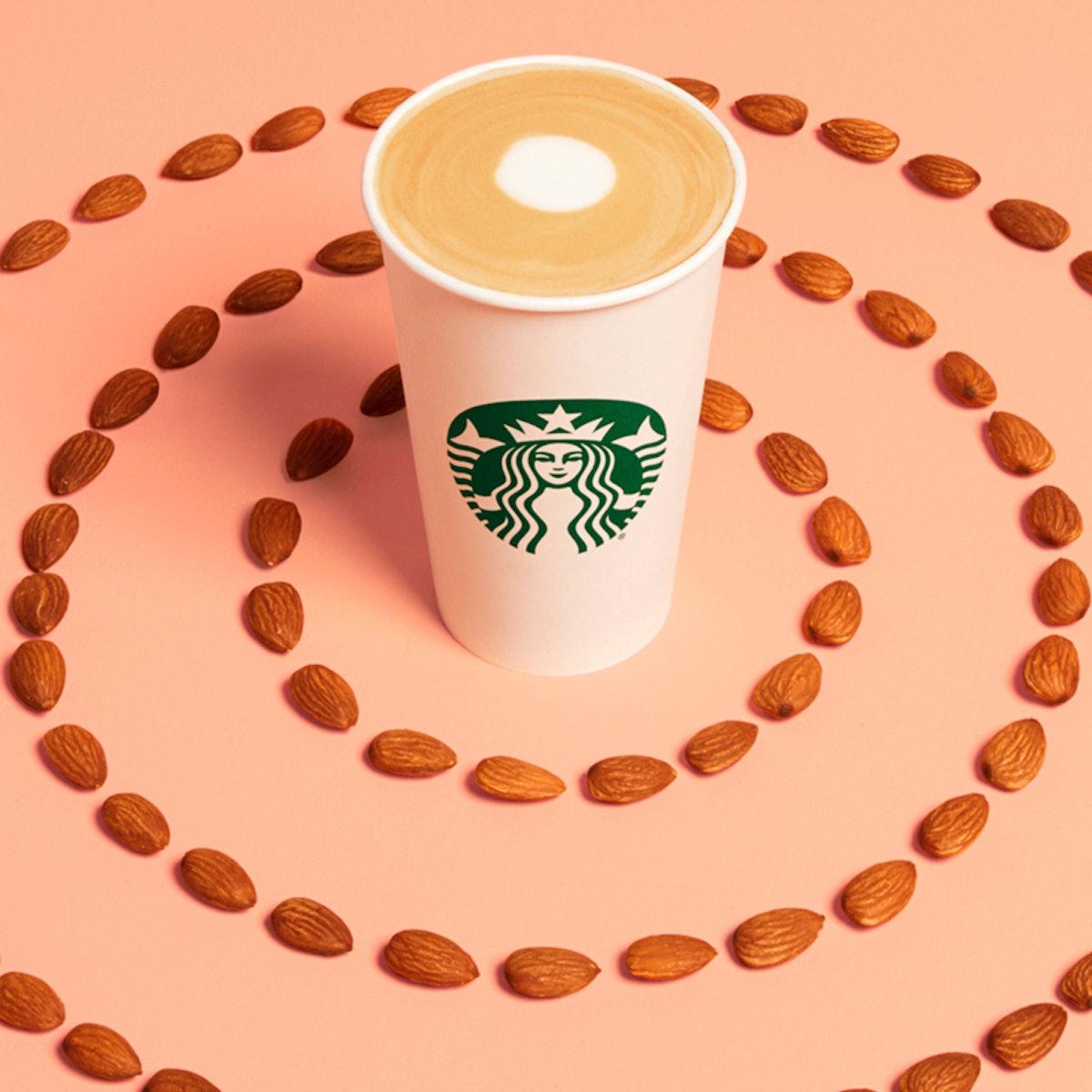 Starbucks' Almondmilk Latte will be available at Starbucks locations nationwide.