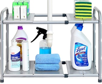 SimpleHouseware Under Sink 2 Tier Expandable Shelf Organizer Rack