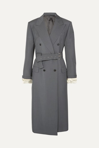 Belted Mohair And Wool Blend Coat