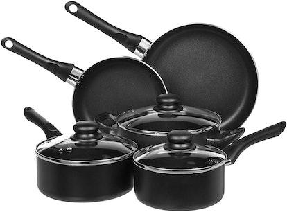 AmazonBasics 8-Piece Non-Stick Kitchen Cookware Set, Pots and Pans