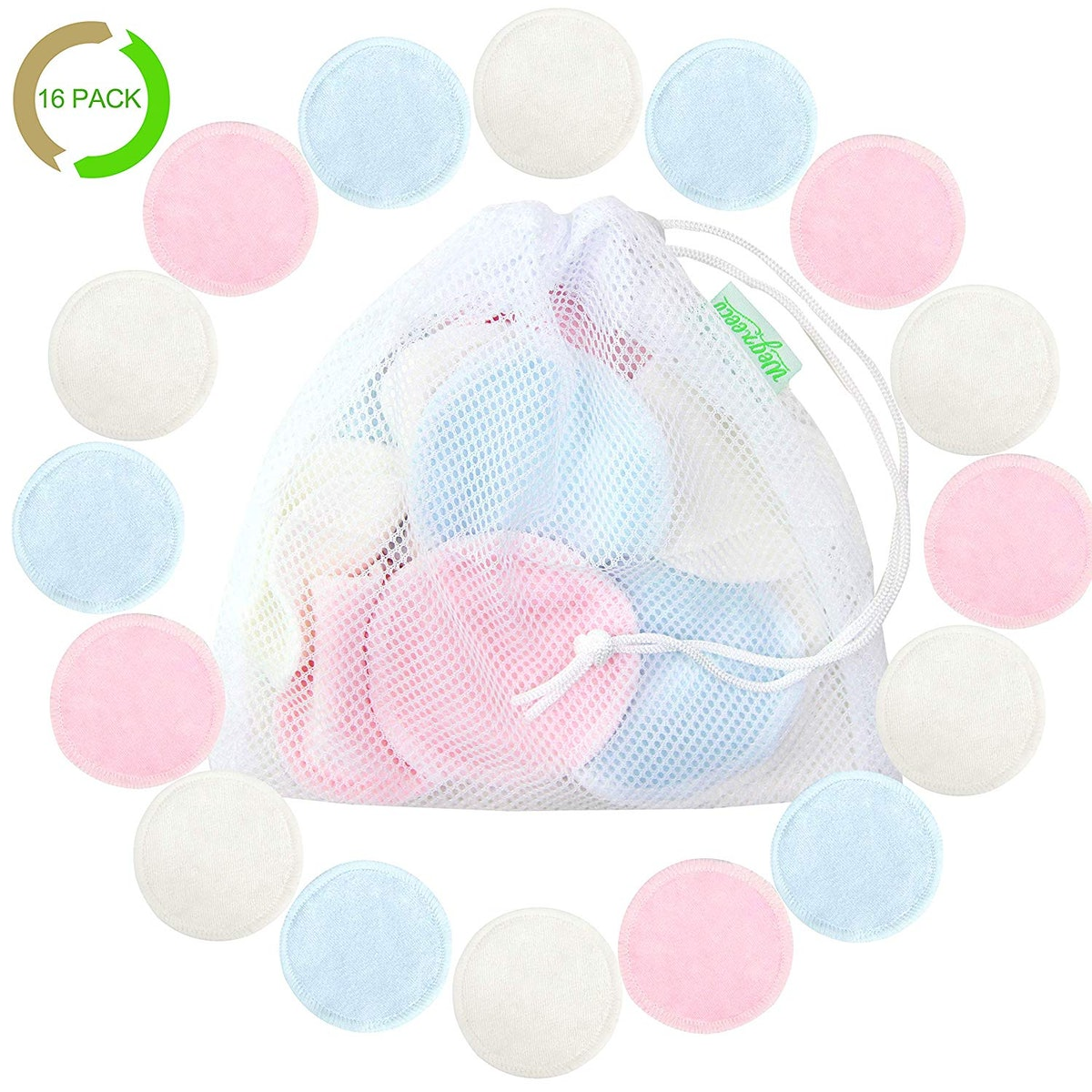 Cotton Rounds Reusable Bamboo Makeup Remover Pads For Face (16-Pack)